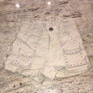 Kids Beige shorts with pink rhinestones